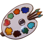 Siam Sterling Enamel Painter's Palette Pin