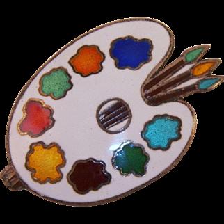 Siam Sterling Enamel Painter's Palette Pin