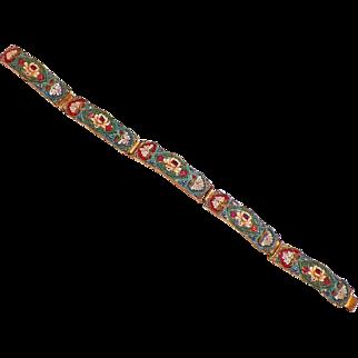 Vintage Micromosaic Five Panel Bracelet Italy