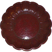 Chinese Or Japanese Dark Red Lacquer Fluted Bowl Signed