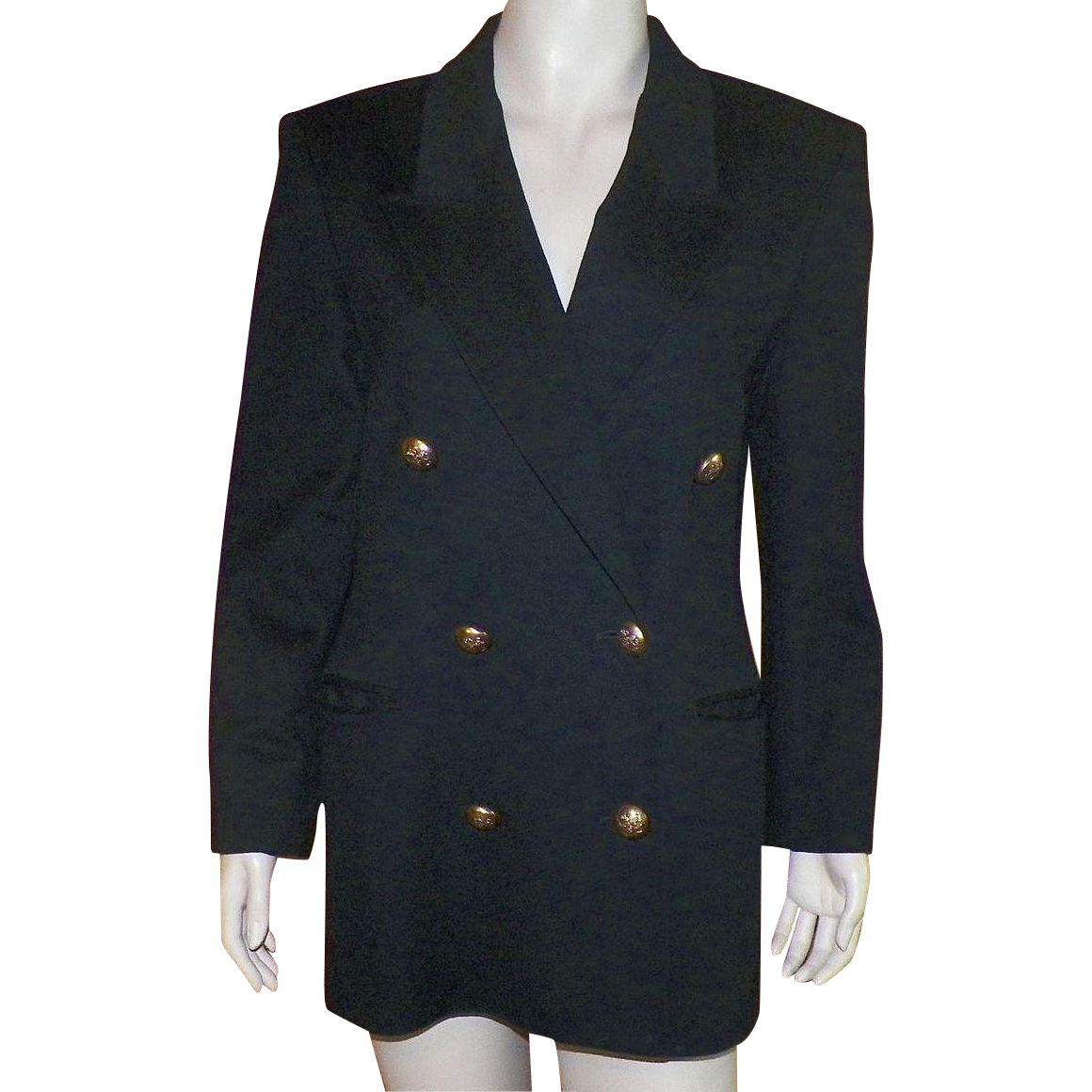 Vintage Jaeger Of great Britain Classic Black Wool Double Breasted Jacket 1980's