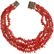 Multi-Strand Graduated Branch Coral Necklace With Ornate Metal Clasp