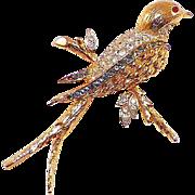Vintage Pave Rhinestone Bird Pin