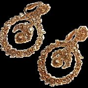 Vintage Gold Tone Pendant Clip Earrings By ART