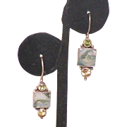 Sterling Agate Peridot Citrine Artist Made Earrings