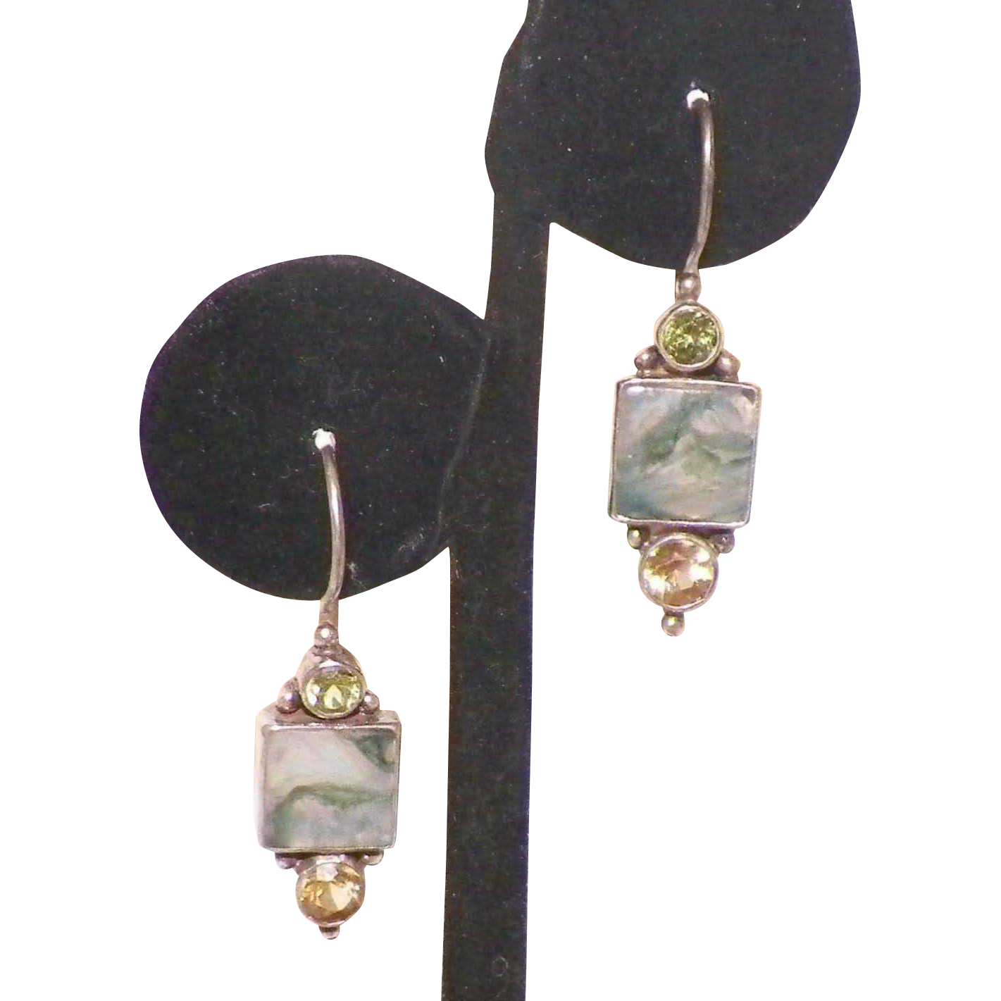 Sterling Agate Peridot Citrine Artist Made Earrings