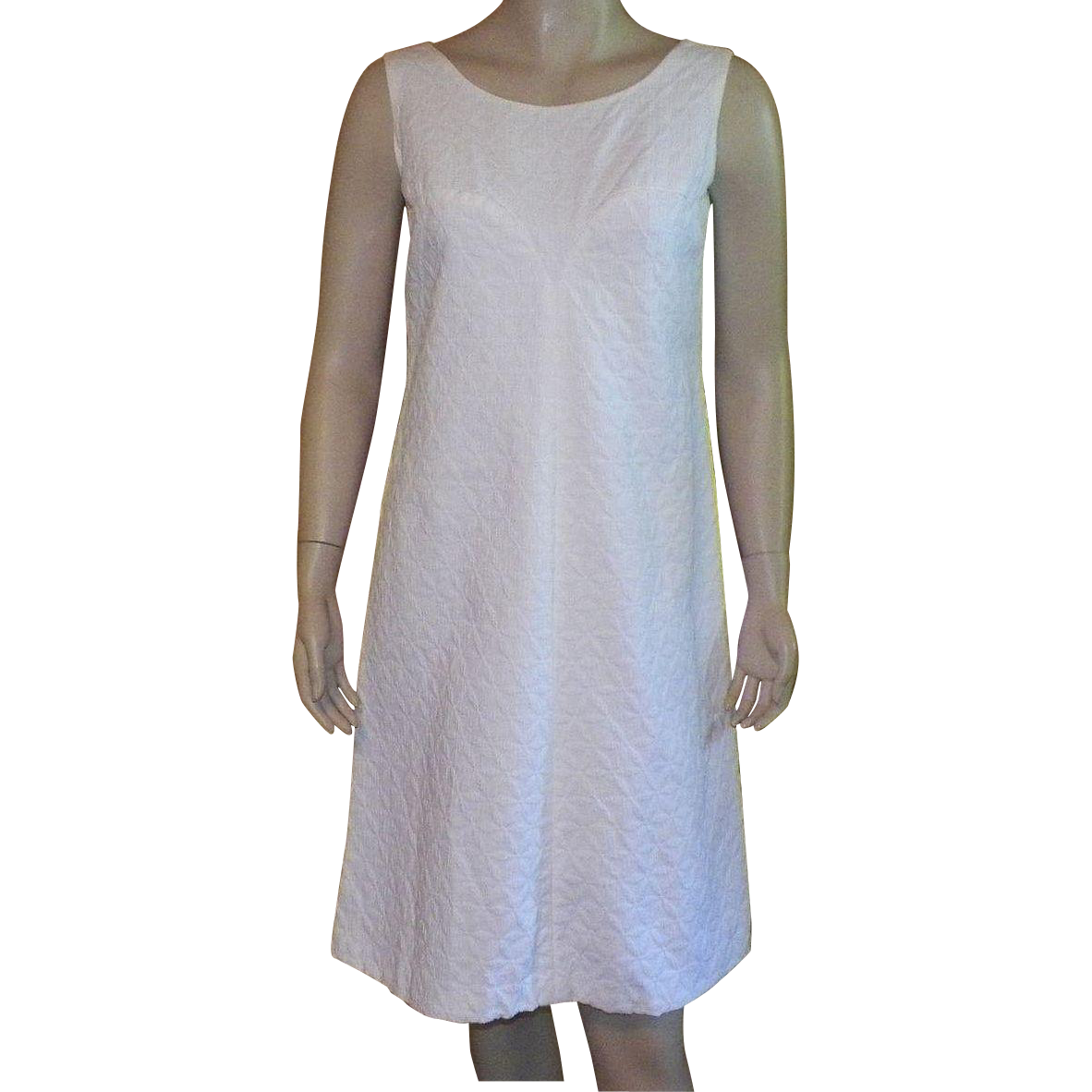 Vintage White Cotton Pique Sleeveless Summer Dress