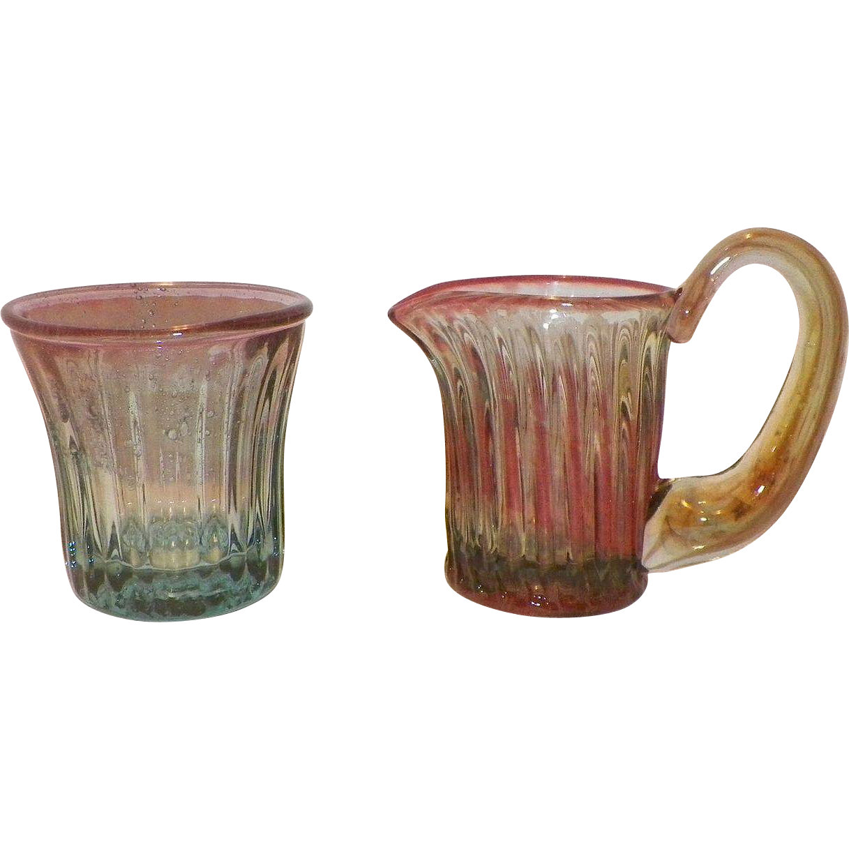 Vintage Art Glass Ribbed Creamer and Sugar