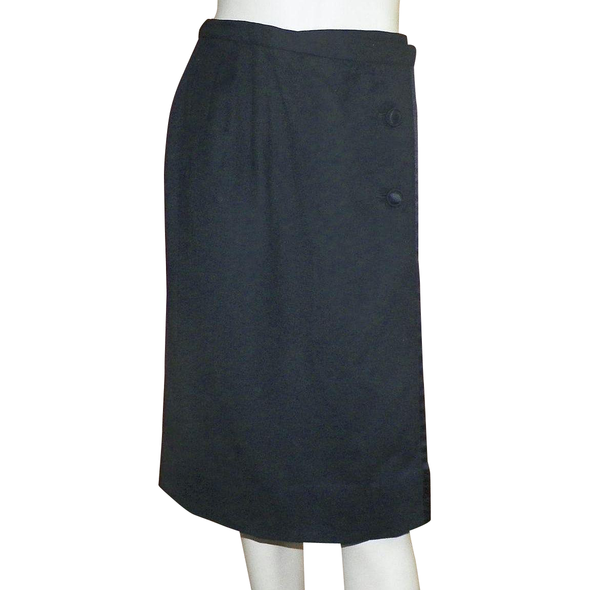 Vintage 1950's Sloat and Co. Black Wool Wrap Skirt