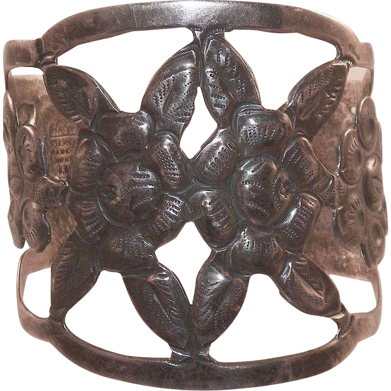 1940's Maciel Mexican Sterling Open Work Repousse Cuff Bracelet