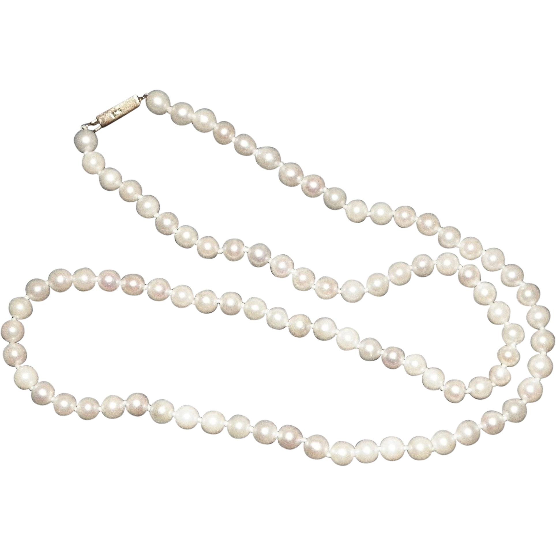Single Strand Of Genuine Pearls With 9CT Gold Clasp