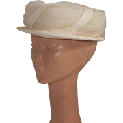 Vintage 1960's Cream Straw and Tulle Hat