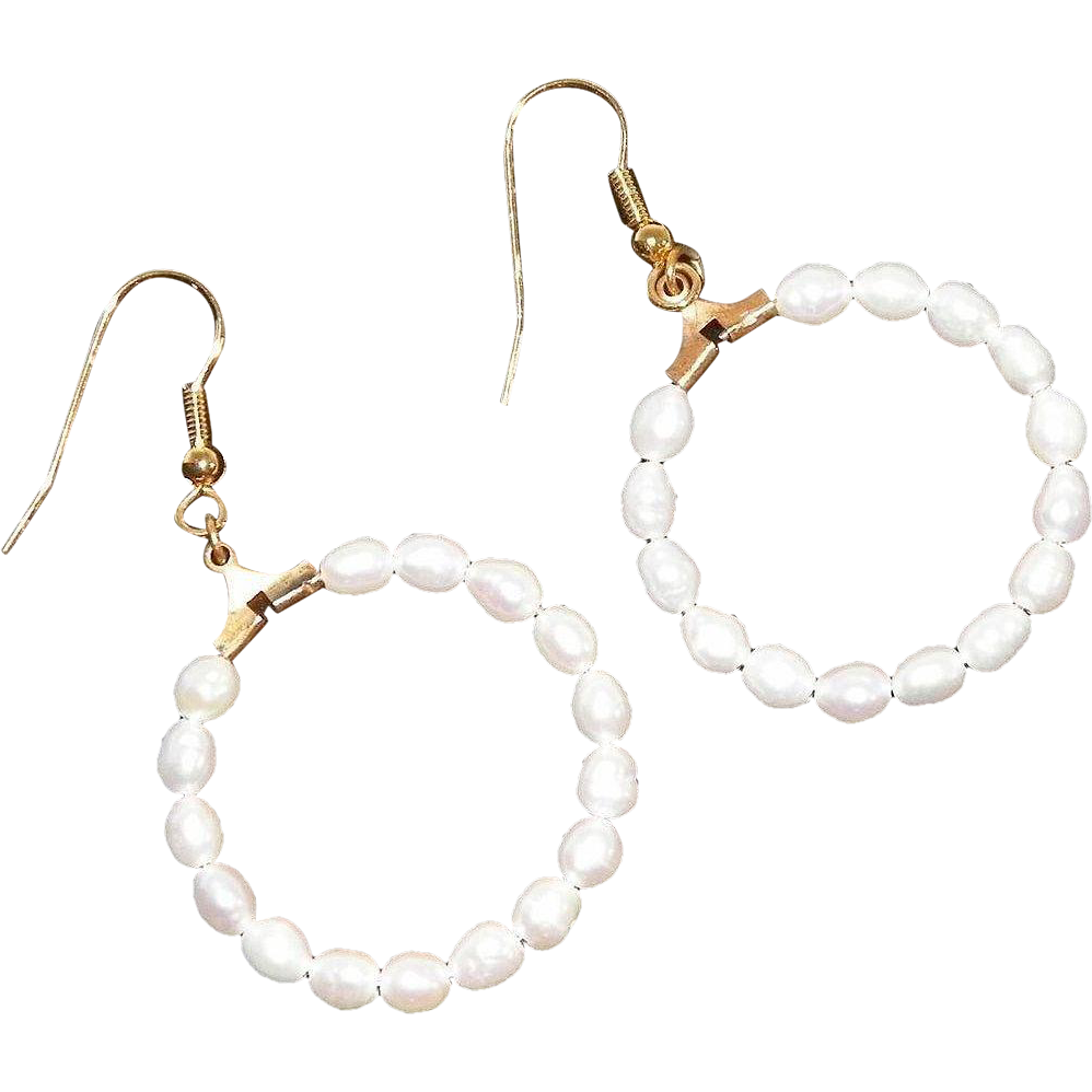 Rice Pearl Open Circle Pierced Earrings