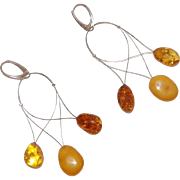 Unusual Tri-Color Amber Dangle Earrings