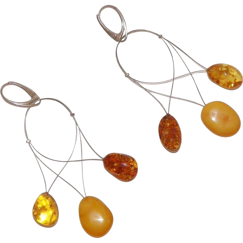 Unusual Three Color Amber Dangle Earrings