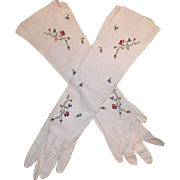Vintage French White Kid Leather Gloves With Tambour Embroidery