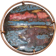 Mid-Century Italian Enamel On Copper Pin With Brass Frame