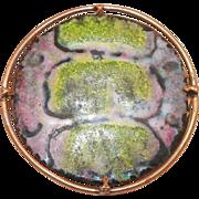 Mid-Century Italian Enamel On Copper Pin With Brass Frame