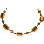 Vintage Bakelite Brown and Butterscotch Beaded Necklace