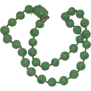 Vintage Crown Trifari Green Peking Glass Necklace