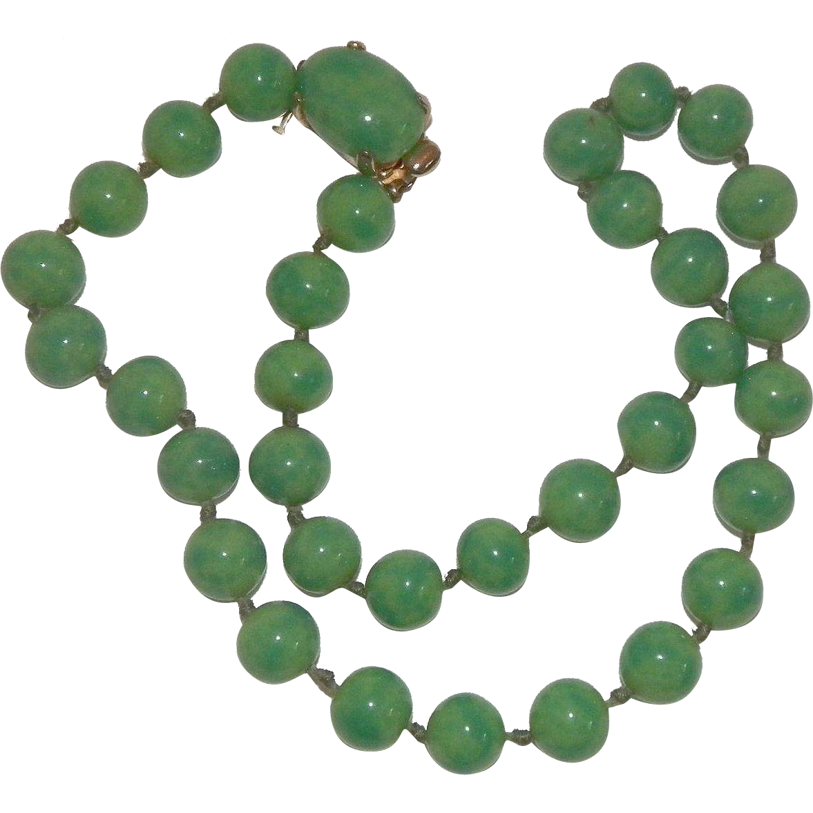 Vintage Crown Trifari Green Peking Glass Necklace
