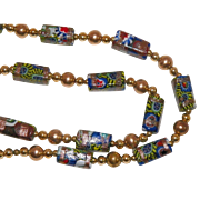 Vintage Murano Millefiori, Aventurine and Gold Tone Beaded Necklace