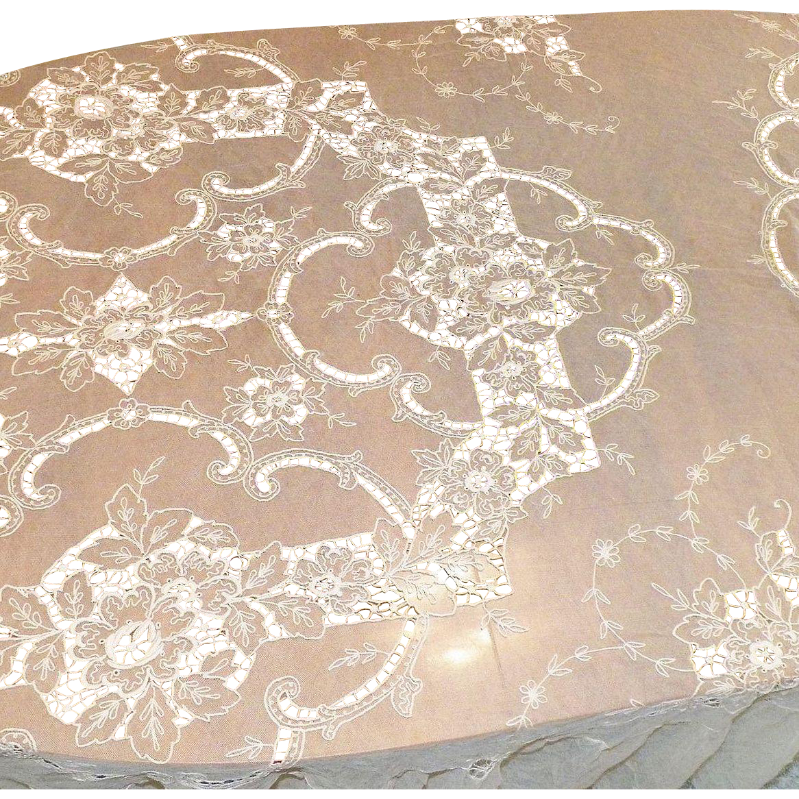 Vintage 1920's Ecru Net Lace Embroidered Bedspread Bed Cover
