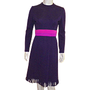1970's Tizzie By Gregg Draddy Purple Dress With Looped Fringe Hem