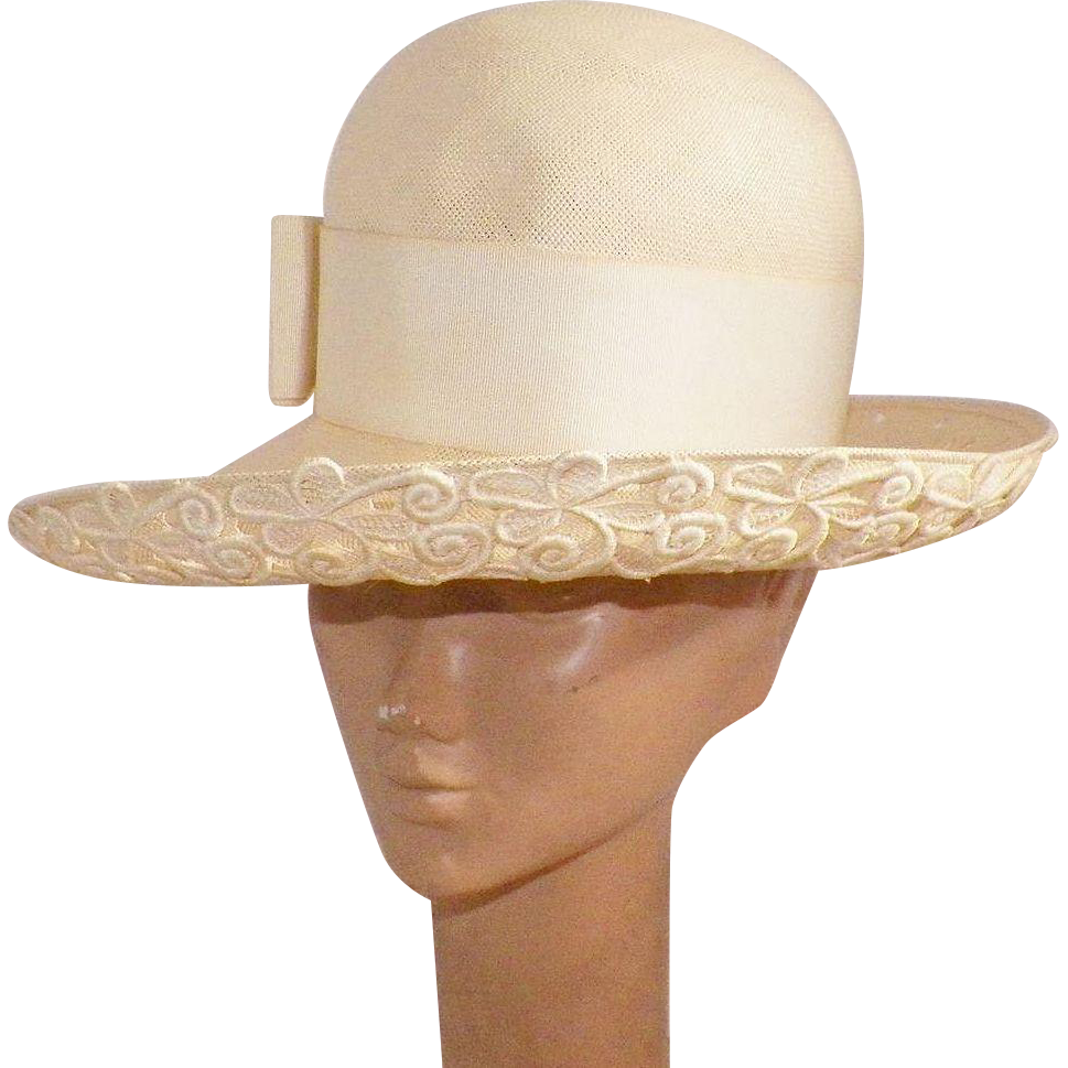 Vintage Lily Dache Dachettes Cream Straw Hat