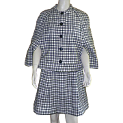 Black and White Wool Plaid Sleeveless Dress With Matching Cape