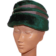 1960's Selene Austrian Green Fur Felt Hat With Jeweled Details