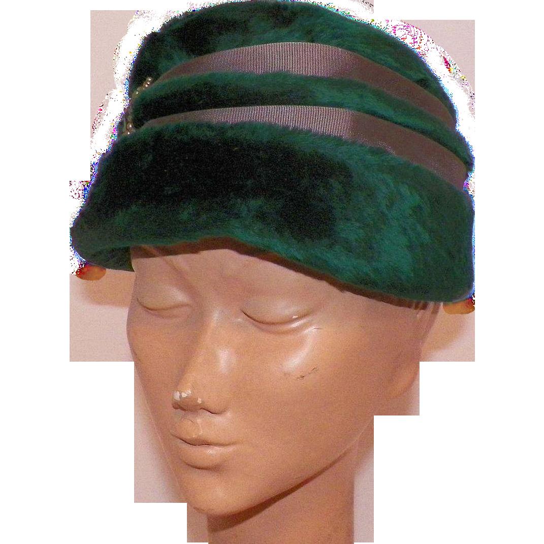 1960's Selene Austrian Green Fur Felt Hat With Jeweled Details