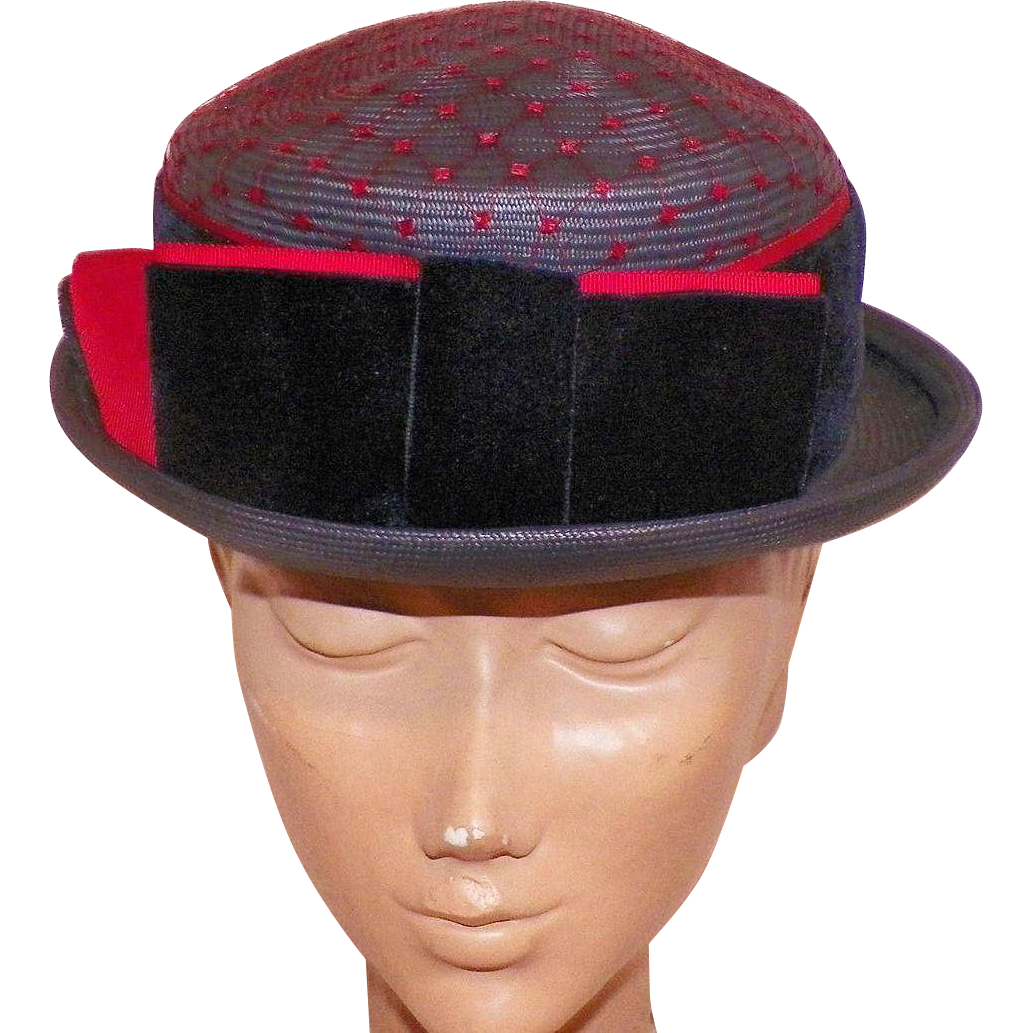 1950's Navy Straw Hat With Bow and Red Netting