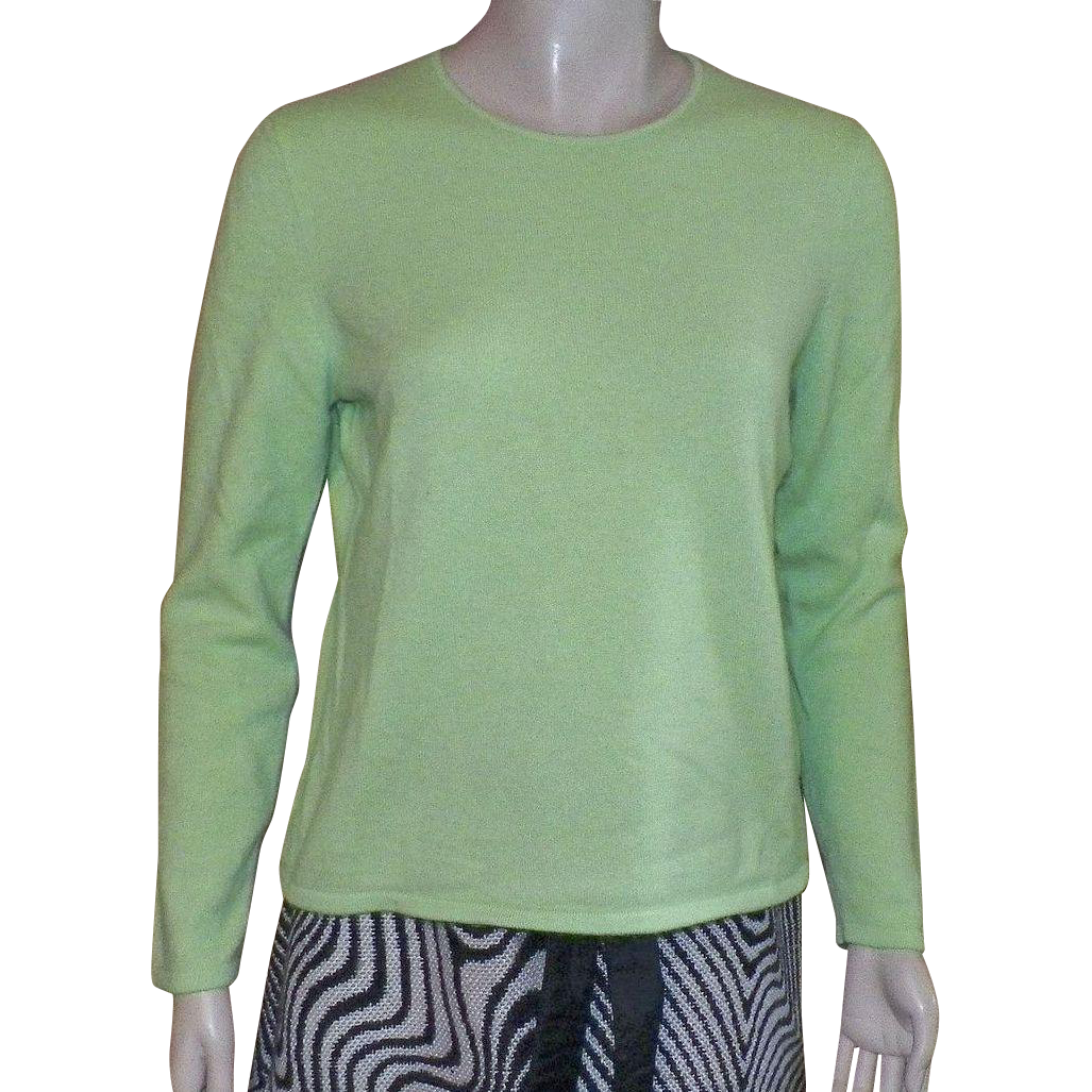 Vintage Belford Lime Green 100% Cashmere Sweater Size XL