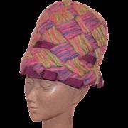 Vintage 1970's Mod Mr. John Jr. Mohair Hat Pink Purple Green