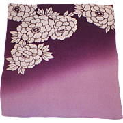 Vintage Japanese Silk Fukusa Textile Ombre Purple and Cream