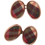 Edwardian Scottish Tartan Plaid Cufflinks