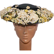 Vintage 1950's Montabert Navy Summer Straw Hat With White and Yellow Silk Flowers