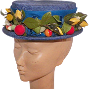 Vintage Blue Boater Hat With Flowers and Berries