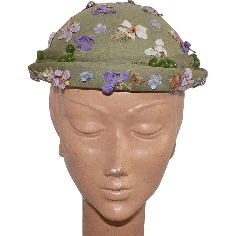 1950's Louise Original Seafoam Green Silk Chiffon Hat With Purple Flowers