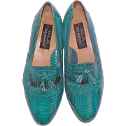 Vintage Men's Turquoise Genuine Snakeskin Shoes Size 7D Never Worn