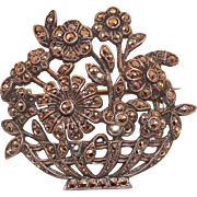 Silver and Marcasite Basket Of Flowers Pin