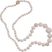 Vintage Natural Angel Skin Coral Beaded Necklace With 14K Carved Rose Clasp