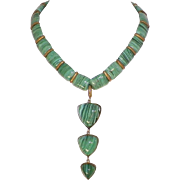 Vintage Malachite Glass Necklace Made In Austria