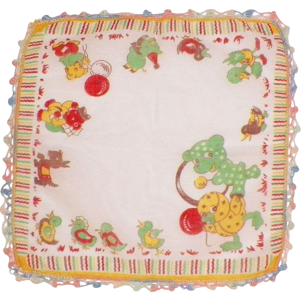 Vintage Child's Hankie With Ducks, Scottie Dog, Bears, Pig