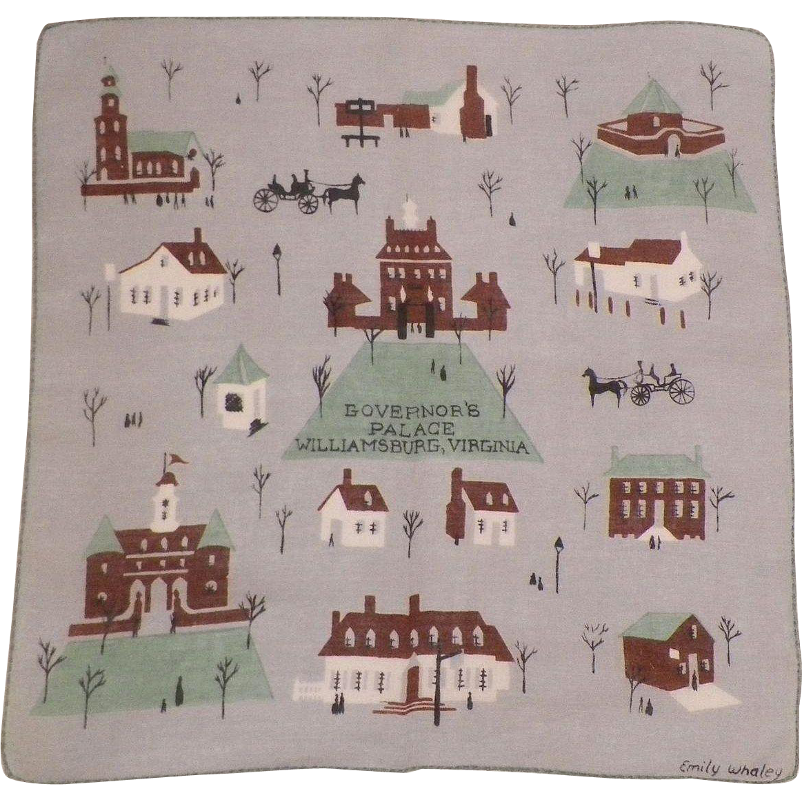 Signed Emily Whaley Hankie Williamsburg