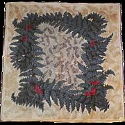 Carol Stanley Linen Hankie Leaves and Butterflies Pattern Original Label