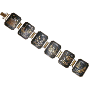 Vintage Japanese Damascene Articulated Panel Bracelet