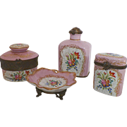 Limoges Hand Painted Peint Main Four Piece Dresser Set