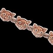 Meka Denmark Sterling Enamel Cat Bracelet